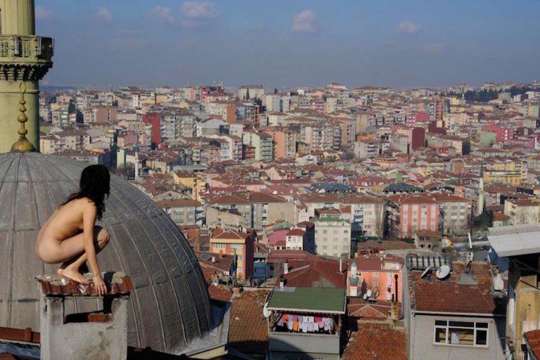 """Nude in the public space. The Body and Freedom Festival for """"naked performing in urban space. Pictured: Miru Kim."""