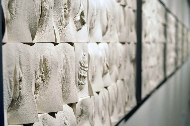 Jamie Mc Cartney, The great wall of vagina, exhibition view. The 9 metre long polyptych consists of four hundred plaster casts of vulvas, all of them unique, arranged into ten large panels.