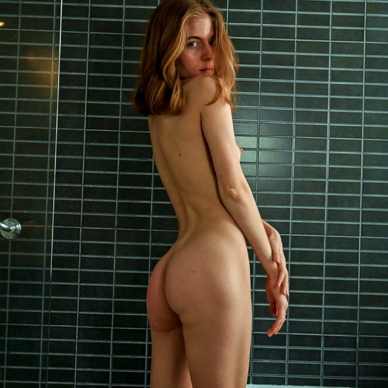 Shayla, Water Time. A nude girl in a bathroom masturbation video from Metart X.