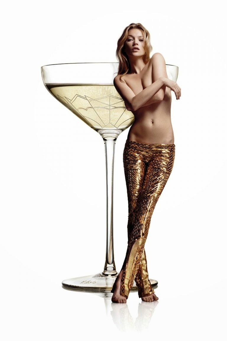 champagne coupe moulded into the exact shape of the left breast of Kate Moss.