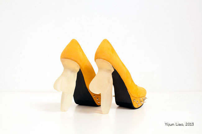 YijunLiao, Soft Heel Shoes, 2013, 3D printed soft heels, suede shoes, metal, 7 x 3 x 7 inches