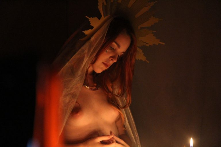 Amarna Miller nude wax play in the immaculate heart by four chambers