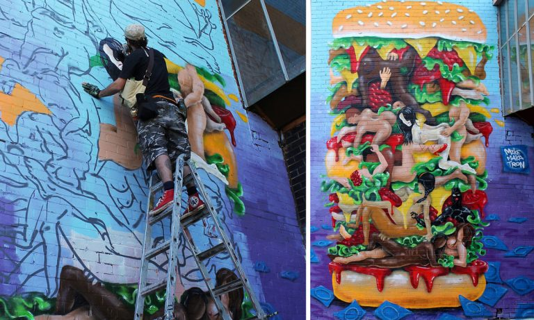 The Kamasutra Burger mural by Mike Makatron celebrates an orgy between lettuce leaves.