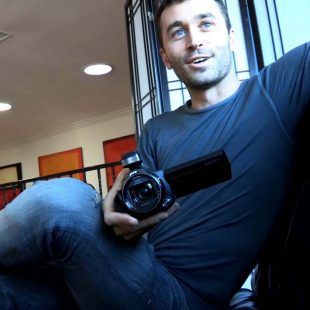 Still from a video of James Deen and Dana Vespoli shooting each other.