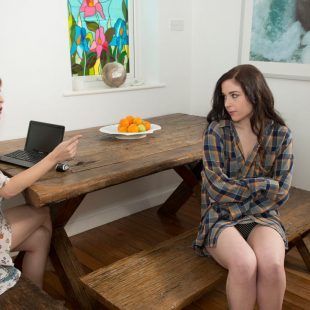 Amarna Miller and Amber Nevada, nude and naughty in Corporate Bonding at joybear films.