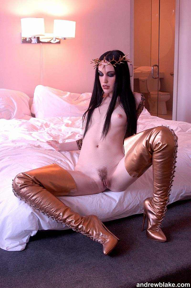 Jade Starr, nude photographed by Andrew Blake, wearing a crown of thornes in the video X