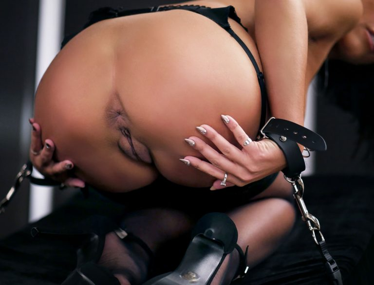 Adriana Chechik, nude in black silk stockings in the video Bound for anal at Holed.