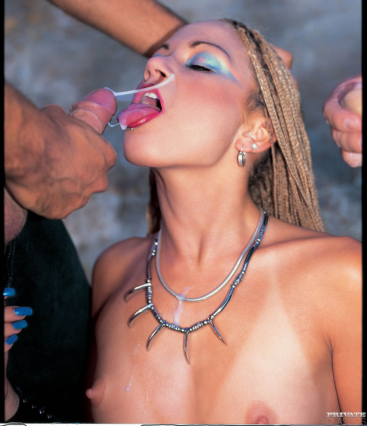 Naughty Nika and two guys nude in the outdoor . From SexMagazine 46, first published 2003. Private Classics Archive.