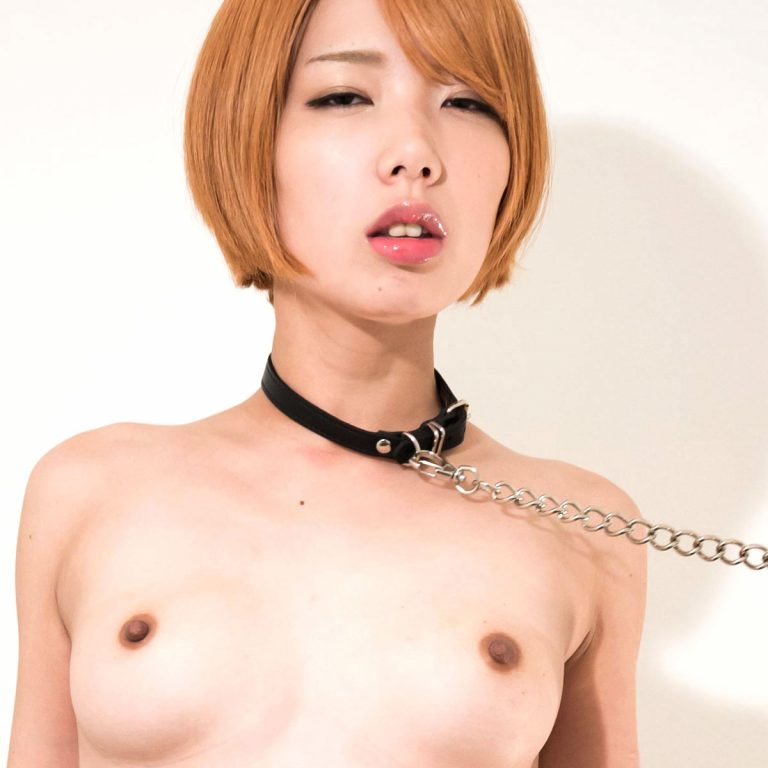 Leashed for Lust | Japanese AV Idol Chie Kobayashi nude on a leash at TokyoFaceFuck.