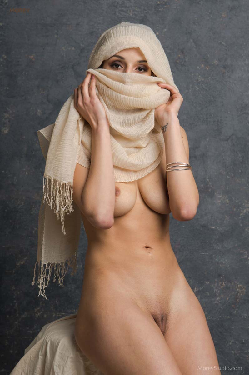 Nude girl wearing Hijab while exposing pussy. Shanoor naked with veil as a niqab by Craig Morey.