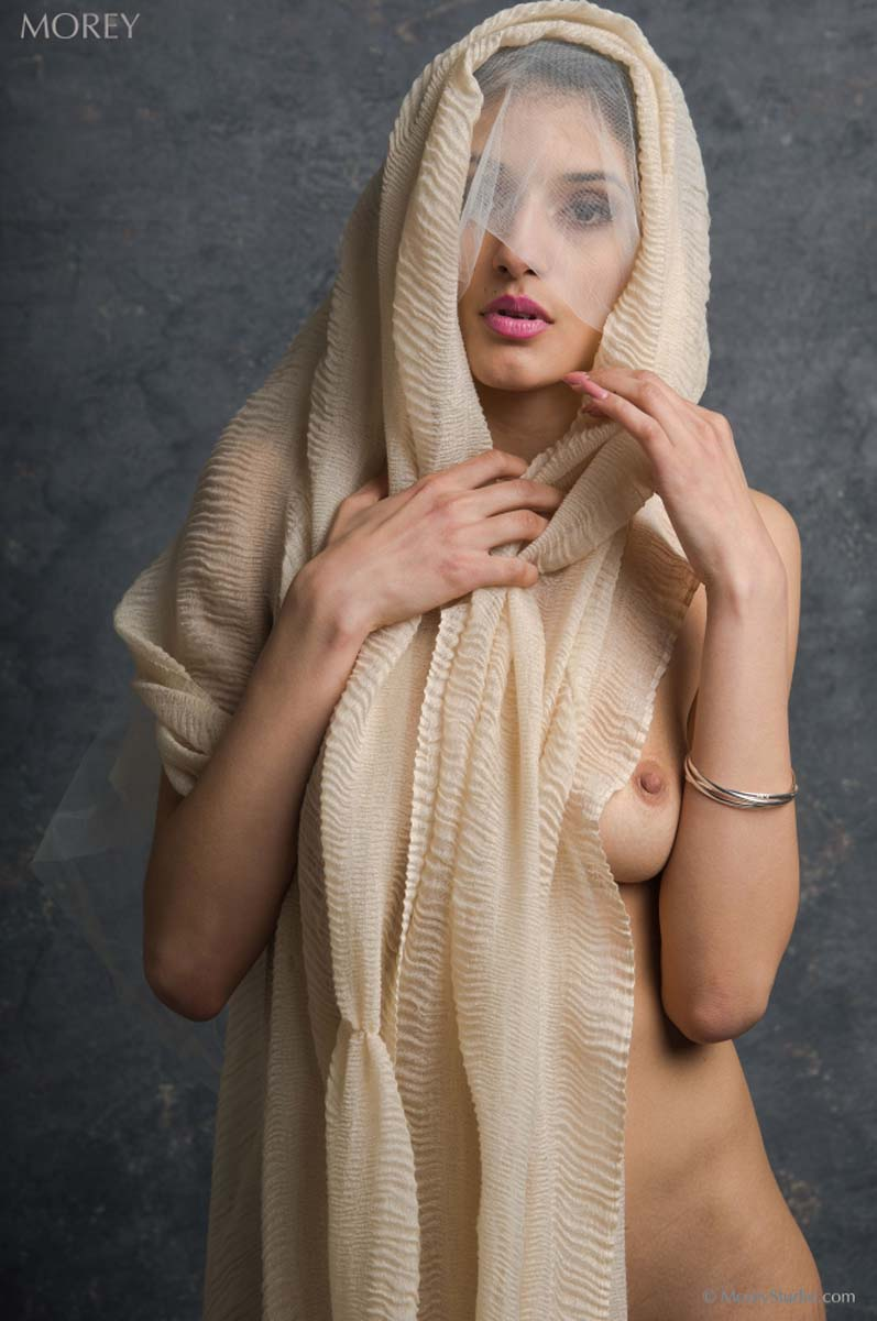 Nude girl wearing Hijab while exposing pussy. Shanoor naked with veil by Craig Morey.