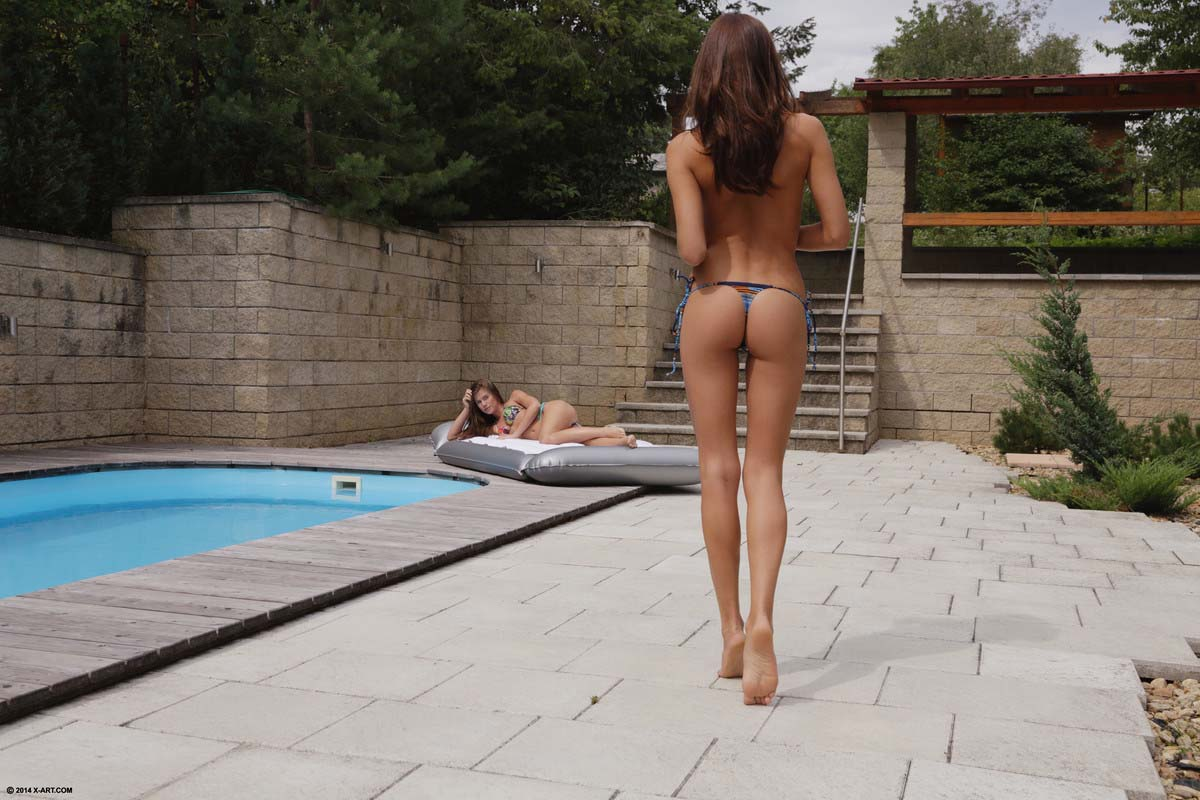 Mila K and Caprice, nude in a lesbian sex video from x-art. A cloudy hot day. Milas first lesbian experience.